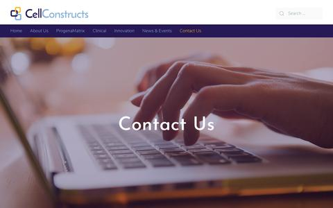 Screenshot of Contact Page cellconstructs.com - Contact Us · Cell Constructs - captured Sept. 27, 2018