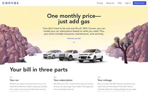 Screenshot of Pricing Page joinbreeze.com - Canvas - A simple alternative to car ownership - captured June 12, 2018
