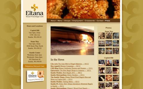 Screenshot of Press Page eltana.com - Press  |  Eltana | Wood-Fired Bagel Cafe | Seattle, WA - captured Sept. 30, 2014