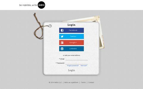 Screenshot of Login Page lettrs.com captured July 20, 2014