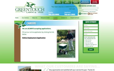 Screenshot of Jobs Page greentouchservice.com - Careers - Greentouch Lawn & Tree - captured Oct. 3, 2014