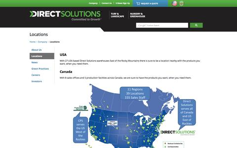 Screenshot of Locations Page growercentral.com - Servicing Canada and the USA. Find a location near you @Direct Solutions - captured Oct. 3, 2014