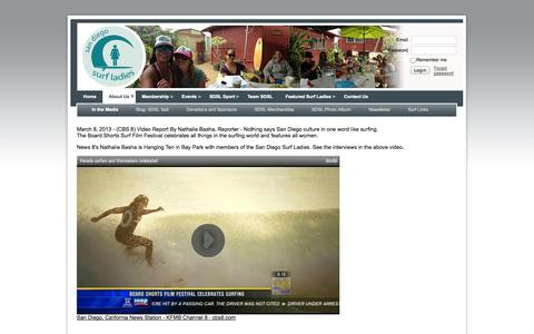 Screenshot of Press Page sandiegosurfladies.com - San Diego Surf Ladies - In the Media - captured Sept. 30, 2014