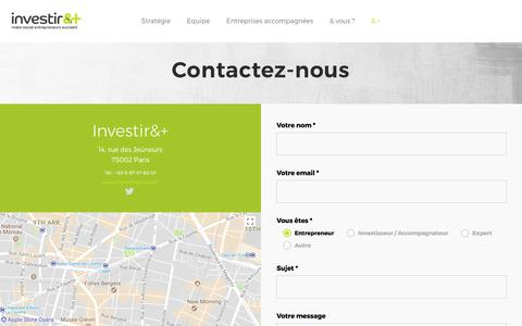 Screenshot of Contact Page investiretplus.com - 5_Contact – investir&+ - captured Oct. 15, 2017