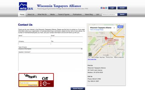 Screenshot of Contact Page wistax.org - Contact Us - Wisconsin Taxpayers Alliance - Wisconsin Taxpayers Alliance - captured Oct. 7, 2014