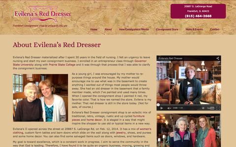 Screenshot of About Page evilenasreddresser.com - About Evilena's Red Dresser - consignment shop near me - captured Dec. 12, 2015