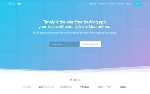 Screenshot of Home Page timelyapp.com - Timely – Time Tracking and Timesheet software for productive teams. - captured Jan. 14, 2017
