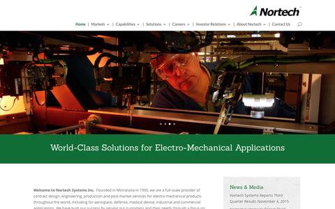 Screenshot of Home Page nortechsys.com - Home - Nortech Systems, Inc. - captured Feb. 25, 2016
