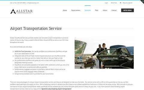 Screenshot of Services Page allstarvip.com - Airport Transportation Service | ALLSTAR Chauffeured Services - captured Oct. 2, 2018