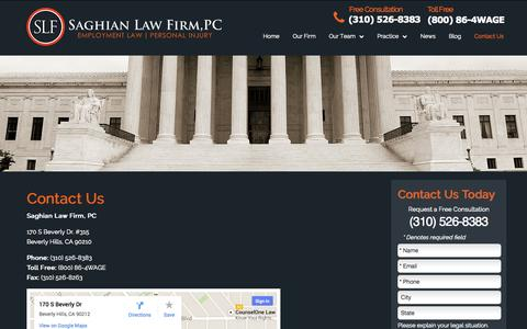 Screenshot of Contact Page saghianlaw.com - Contact Saghian Law Firm, PC in Beverly Hills, California - captured Nov. 2, 2014