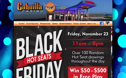 Screenshot of Home Page cahuillacasino.com - Cahuilla Casino - captured Nov. 9, 2018