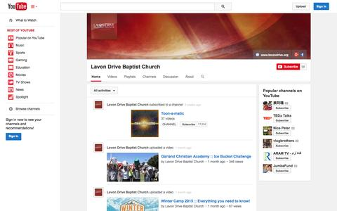 Screenshot of YouTube Page youtube.com - Lavon Drive Baptist Church  - YouTube - captured Oct. 22, 2014