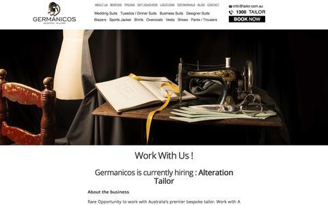 Screenshot of Jobs Page tailor.com.au - Career - Work with us - captured Sept. 28, 2019