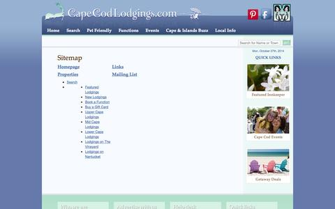 Screenshot of Site Map Page capecodlodgings.com - Sitemap | Cape Cod Lodgings - captured Oct. 27, 2014