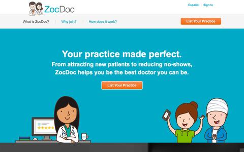 Screenshot of Signup Page zocdoc.com captured Nov. 11, 2015