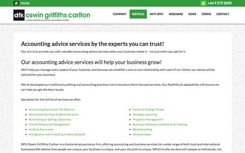 Screenshot of Services Page dfkogc.com - Accounting advice services by the experts you can trust! - captured Oct. 11, 2017