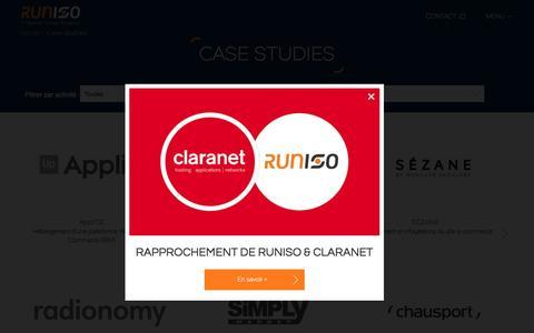 Screenshot of Case Studies Page runiso.com - Projets d'h�bergement web et d'infog�rance applicative - captured Nov. 23, 2015