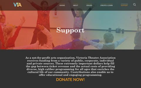 Screenshot of Support Page victoriatheatre.com - Support - Victoria Theatre Association - captured May 23, 2016