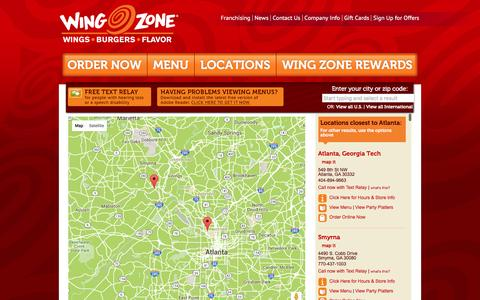 Screenshot of Locations Page wingzone.com - Find a Location | Wing Zone | We Deliver Amazing Flavor - captured Feb. 14, 2016