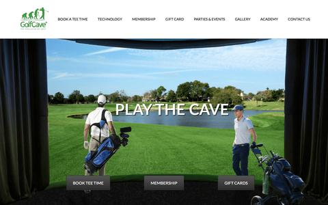 Screenshot of Home Page golf-cave.com - Indoor Golf I Golf Simulators I Driving Range I GolfCave - captured July 20, 2018