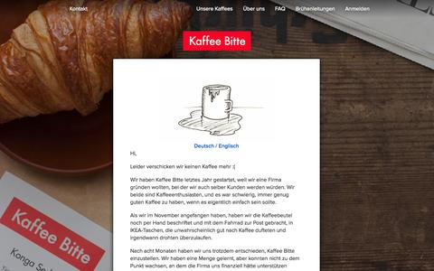 Screenshot of Home Page Signup Page kaffeebitte.de - Frisch gerösteter Kaffee direkt in deinen Briefkasten - Kaffee Bitte - captured Sept. 23, 2014