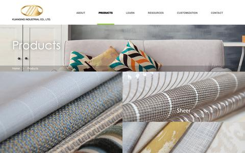 Screenshot of Products Page kuanging.com - Kuanging Industrial Co., Ltd. -Textiles - Fabrics - Kgg Contract - Hospitality - Kuanging Industrial Co., Ltd. - captured Oct. 16, 2018