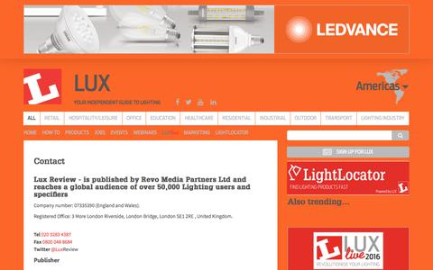 Screenshot of Contact Page luxreview.com - Lux Magazine and Lux Review | Americas | Home page - captured July 19, 2016