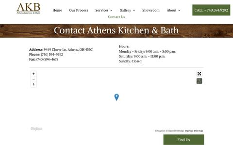 Screenshot of Contact Page athenskitchens.com - Contact Athens Kitchen & Bath Remodel Company | Athens OH - captured Oct. 4, 2018