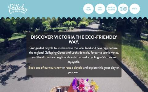 Screenshot of Home Page thepedaler.ca - The Pedaler – Guided Bicycle Tours & Rentals | Victoria, BC - captured Oct. 6, 2014