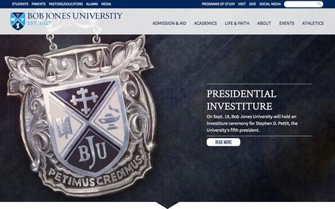 Screenshot of Home Page bju.edu - Bob Jones University - Christian College Education - captured Sept. 18, 2014