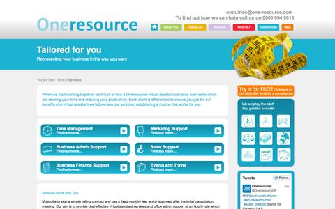 Screenshot of Services Page one-resource.com - Oneresource Virtual Assistant Service | Oneresource VA Service - captured Oct. 26, 2014
