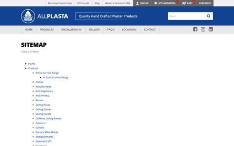 Screenshot of Site Map Page allplasta.com.au - Sitemap Decorative Ceiling and Plaster Cornice   ALLPLASTA Products - captured Oct. 3, 2018