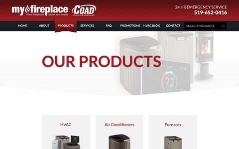 Screenshot of Products Page coadheating.com - My Fireplace - Products - captured Sept. 28, 2018
