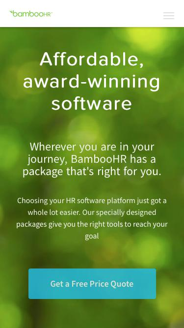 Screenshot of Pricing Page  bamboohr.com - HR Software Prices that Work with Your Budget | BambooHR