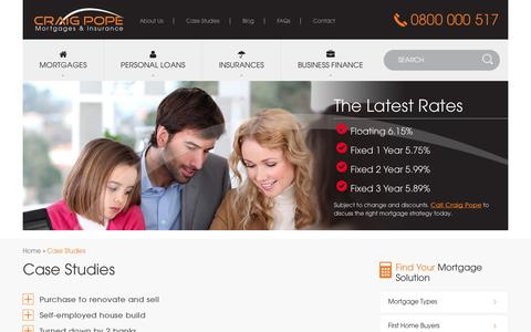Screenshot of Case Studies Page craigpope.co.nz - Mortgage Case Studies – Craig Pope's satisfied clients - captured Oct. 3, 2014
