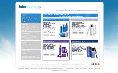 Screenshot of Products Page intraceuticals.com - Intraceuticals Skin Care Range - captured Oct. 9, 2014