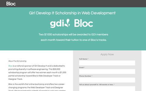 Screenshot of Landing Page bloc.io - Bloc | Girl Develop It Coding Bootcamp Scholarship - captured March 4, 2018