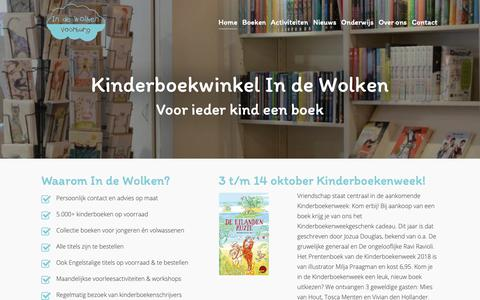 Screenshot of Home Page indewolken.nl - Kinderboekenwinkel In de Wolken in Voorburg | Voor ieder kind een boek! - captured Oct. 15, 2018