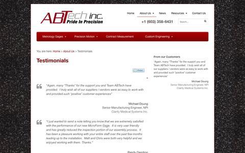 Screenshot of Testimonials Page abtechmfg.com - Testimonials - ABTech - captured Oct. 4, 2014