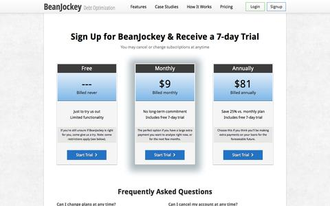 Screenshot of Pricing Page beanjockey.com - BeanJockey | Pricing - captured Sept. 13, 2014