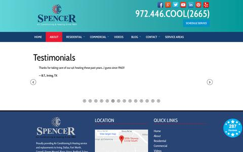 Screenshot of Testimonials Page spencerairconditioning.com - Testimonials - Spencer Air Conditioning and Heating   Hvac Irving, Tx - captured Sept. 21, 2018