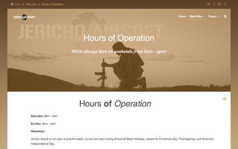 Screenshot of Hours Page jerichoairsoft.com - Hours of Operation - captured Nov. 3, 2014