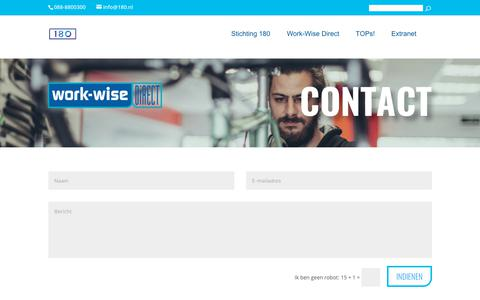 Screenshot of Contact Page work-wise.nl - Contact | Stichting 180 - captured Nov. 6, 2017
