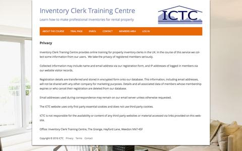 Screenshot of Privacy Page inventoryclerktrainingcentre.com - Privacy | Inventory Clerk Training Centre - captured Aug. 6, 2016