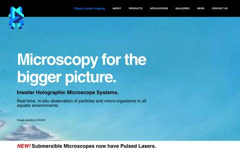 Screenshot of Home Page 4-deep.com - 4 Deep | Submersible Underwater Microscopy - captured Oct. 3, 2014