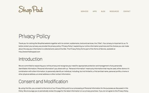 Screenshot of Privacy Page theshoppad.com - ShopPad | Privacy Policy - captured Aug. 22, 2016