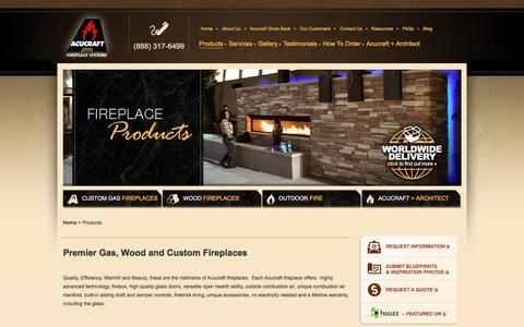Screenshot of Products Page acucraft.com - Gas, Wood, Linear Gas and Outdoor Fireplaces Custom Made for You. - captured Nov. 20, 2016