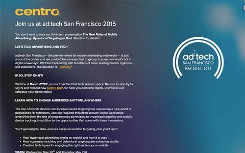 Screenshot of Landing Page centro.net - ad:tech San Francisco 2015 | Centro - captured Feb. 11, 2016