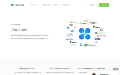 Screenshot of moxtra.com - integrations: third-party services, identity management | moxtra - captured March 19, 2016