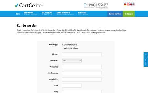 Screenshot of Signup Page certcenter.de - Kunde werden (CertCenter AG) - captured July 23, 2017